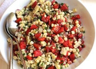 سالاد ذرت و گوجه فرنگی